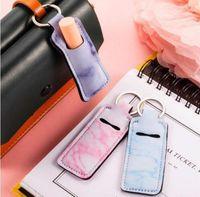 Fabrikpreis Keychain Tragbare Lippenstifthalter Lip Cover Neopren Marmor Gedruckt Chapstick Holder Bag Wrap Party Favor