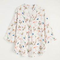 Blouses Femmes Chemises Chemise Spring Chemise 2021 Fashion Animal Bird Prints Femme Blouse Tops Casual Tops Pullover1