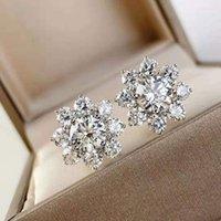 스터드 태양 꽃 다이아몬드 모양 귀걸이 웨딩 쥬얼리 5A 높은 탄소 925 스털링 실버 귀걸이 1