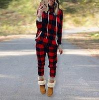 여성 크리스마스 격자 무늬 Tracksuit 크리스마스 두 조각 의류 잠옷 세트 체크 무늬 후드 후드 legging 바지 복장 Trourser 정장 새로운 E120301