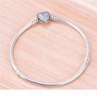 Women Wedding CZ Diamond Love Heart Heart Catena Braccialetto Catena Braccialetto originale per Pandora 925 Bracciale in argento sterling