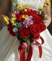 신부 결혼식 꽃다발 시뮬레이션 붉은 장미 신부 꽃을 들고 꽃 웨딩 사진 장미 결혼식 신부를 들고 부케 26cm * 33cm