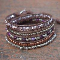 Faceted Cristal violet Boho Wrap Brocelets Berceau Mélanger 5Layers Perles de cuivre Cuir Bracelet Élégant Femme Bijoux Femme Mujer Bijoux1