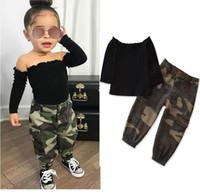 2020 herbst mode kinder baby mädchen kleidung set schwarz langarm weg schultert-shirt tops + camouflage pocket cargo hosen outfit 1-6Y