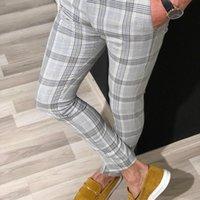 Erkek Ekose Pantolon Doğrulandı Örgün Zarif Rahat Iş Ofis Takım Elbise Pantolon Slim Fit Joggers Tartan Skinny Elastik Sweatpants 201109