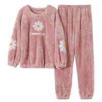 Flower Pigiama Set Donne Inverno Inverno Homewear Spessa Flanella Calda Casual Sleepwear 2021 Moda Peluche Mamma Abbigliamento Homewear Kpacotakowk