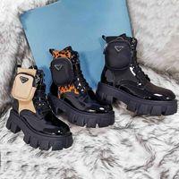 2021 Top Zapatillas de motocicleta Calidad Rois Martin Botas de tobillo Mujeres Cuero genuino Modelos de combate militar Triple Cowhide Bolsa de plataforma