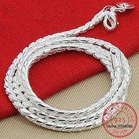 Ketten 925 Sterling Silber 3mm Schlangenkette Halskette Frau Mann Mode Einfache 20 Zoll Schmuck Colar de Prata