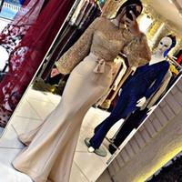 2020 cuello alto largo de la sirena de los vestidos formales del partido Mujer musulmanes noche vestidos de la celebridad de noche de baile vestidos elegantes más el tamaño árabe Dubai