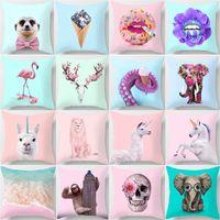 Almofada Capa dos Desenhos Animados Animal Impresso Lance Almofadas Almofadas Capa Decorativa Cão Flamingo Unicórnio Girafa Elefante Home Deco 151 K2