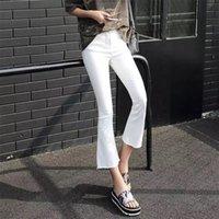 Mingjiebihuo Mode Frau Jeans Koreanische Neue Ankunft OL Dame Casual Jeans mit Reißverschluss Mid Tailled Solid Flare Jeans Plus Größe 201031