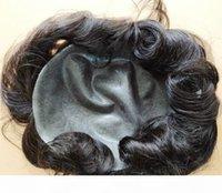 PUL PU PU TOOUPEE TOUPEE PLEIN DE TOUPEE TOUPEE TOUPEE DE CHAPILITÉ HUMUME POUR HOMMES CHILTES UNITÉ VIERGE Pièces de cheveux humains indiens