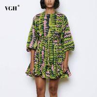 VGH Vintage Baskı Hit Renk Elbise Kadınlar O Boyun Fener Uzun Kollu Yüksek Bel Lace Up Ilmek Elbiseler Kadın Yaz Yeni 2020 LJ201202