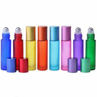 10ml vidro essencial rolos de óleo frascos arco-íris série geada gelada perfume rolo na garrafa de viagem de garrafa kkd3573
