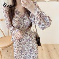 Japanischer Stil Druck Blumen Chiffon Süße Mädchen Schickes Kleid V-Ausschnitt Slim Büro Dame Arbeitskleid Frauen Herbst Frühling Lässig