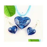 Coração Murano lampwork soprado de vidro veneziano colares pingentes e brincos jóias conjuntos mus009 alta moda jóias gs4ou