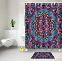 Мандала цветок душ Шторы богемный стиль Vintage Синий Фиолетовый водонепроницаемый ткань занавеса ванны наборы для ванной Декор с крючками