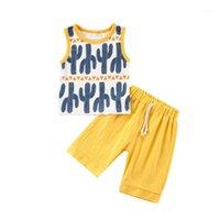 Pudcoco 1-5 Jahre Kind Baby Jungen Kaktus Kleidung Outfits Sommer Infant Kinder Sleeveless Tops + Shorts Anzüge für Jungen Kleidung1