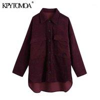 Kadın Ceketler Kpytomoa Kadınlar 2021 Moda Boy Asimetrik Kadife Ceket Kaban Vintage Uzun Kollu Cepler Kadın Giyim Şık Tops