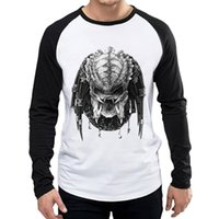 Langer Mode Herren Movie T-shirt Top Tees T-shirt Full Sleeve Alien vs Raubtier AVP T-Shirt