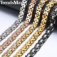 """سلاسل Trendsmax 7/9 / 11 ملليمتر قلادة البيزنطية للرجال الفولاذ المقاوم للصدأ سلسلة الذهب والفضة الأسود 2021 الأزياء والمجوهرات هدية 18-36 """"knn231"""