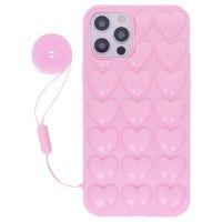 Für iPhone 12 PRO MAX CASE Mini 11 XR xs x 8 7 6 6S plus niedliche Girly Frauen Strap 3D Bubble Heart