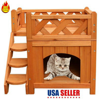 Pet Wooden Cat House Living House Kennel with Balcony 2 Laye...