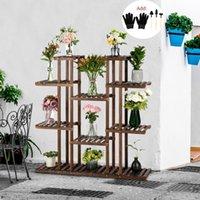 Yeni 6 Katlı Bambu Bitki Standı Kapalı Açık Bahçe Ekici Saksı Standı Raf Araçları ile