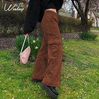 Женские брюки Capris Weeper High Pocket Patchwork широко нога грузовые бегуны женщин эстетики Harajuku повседневный парень прямые брюки