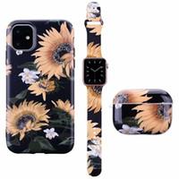 İPhone 12 Mini 11 Pro x XS Max XR 7 8 Artı Moda Çiçek Desen Kılıfı Watch Band Kayış 38/40/42/44 Airpods Pro Için Kulaklık
