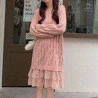 새로운 여성 레이스 스티치 스웨터 드레스 캐주얼 라운드 넥 긴 소매 하단 스웨터 가을 겨울 패션 솔리드 컬러 탑스