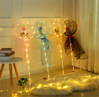 LED Luminous Balloon Rose Flower Transparent Bubble Enchanted Rose LED Bobo Ball for 2021 Valentines Day Gift Party Wedding Decor E121801