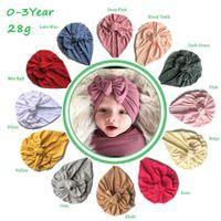 Ins 12 Farben Neue Mode Candy Color wenig Knoten Bogen Stirnbänder Elastische Baumwolle Haarschmuck Mütze Multi Farbe Baby Hüte