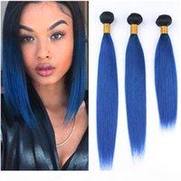 Silky dritto malese capelli umani blu scuro blu ombre weaves estensioni 3pcs root dark 1b blu ombre vergine remy human capelli fascomarini