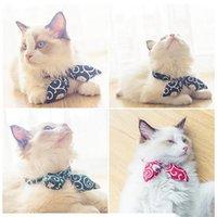 قابل للتعديل القط ربطة طوق النمط الياباني مطبوعة القط طوق القط صغير الجرو التعادل الياقات الجر حبل اكسسوارات الكلب طوق 47 P2