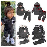 0-3Y Çocuk Eşofman Bebek Toddlers 2 Parça Kıyafet Kapşonlu Hoodie Kazak Kazak Ve İpli Pantolon Spor Takım Elbise Rahat Giyim Seti E121604
