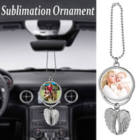 Sublimation Blanks Pendant Auto Pendente Angelo Ala retrovisore Specchio Decorazione Appeso Ornamenti di fascino Automobili Automobili Accessori per auto interni