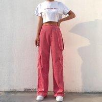 Weeper Женские повседневные карманы Beatwork Cargo брюки с высокой талией прямые брюки женские штаны Y200113