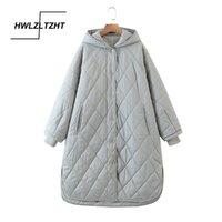HWLZLTZHT 2021 Yüksek Kaliteli Kış Ceket Kadınlar Artı Boyutu Uzun Moda Kadın Kış Coat Kapşonlu Sıcak Aşağı Ceket Parka 210203