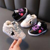 Новая Зимняя Детская Обувь Малыши Мальчики Девочки Кроссовки Теплые Плюшевые Хлопок Детские Спортивные Обувь Мода Детская Обувь Первая Прогулка 15-25 B1205