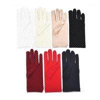 Cinco Luvas de Dedos Moda Proteção do Sol Ponto de Ponto Elástico Mittens Lady Tecido Faixa Vintage para Drive Shopping 1 Par1