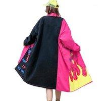 Women's Trench Coats Vefadisa Carta Imprimir Denim Mulheres 2021 Lapela Primavera Casaco Solto Hit Color Long Cowboy Overcoat QYF19381