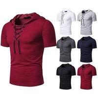 망 붕대 티셔츠 여름 느슨한 솔리드 컬러 풀오버 후드 탑 십대 남자 패션 짧은 소매 캐주얼 티셔츠