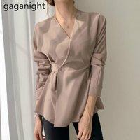 Gaganight Chic Koreanischer V-Ausschnitt Frauen Bluse Mode Massive Langarm Schnür Hemden Büro Dame 2021 Frühling Vintage Blusas Neue
