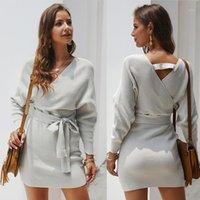 Mode Femmes Automne Hiver Cause Cause courte Robe à manches longues à manches longues Robes tuniques tricotées tuniques1