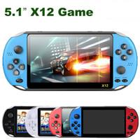 """5.1 인치 X12 핸드 헬드 게임 플레이어 8GB 메모리 휴대용 비디오 게임 콘솔 5.1 """"컬러 스크린 지원 TF 카드 32GB MP4 플레이어 레트로"""