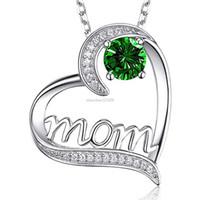 Moda Mamá collar Diamante corazón collares amor corazón colgante joyería de moda Día de la madre regalo y moda arenosa