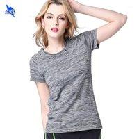 5 ألوان النساء قميص اليوغا للياقة الجري الركض تي شيرت رياضة رياضة سريعة الجافة تنفس تمارين قصيرة الأكمام تانك top1