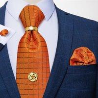 Бантики мода мода апельсин плед мужской галстук 8 см шелковый жаккардовый галстук платок чайник набор подарок для мужчин Грапата Corbatas Dibange