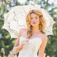 Parapluies 1pcs dentelle parapluie coton broderie blanche / ivoire parasols pour les photos de mariage, Fournitures de fête de parasol diy1